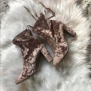 Report pink crushed velvet booties